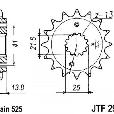 LANČANIK PREDNJI GUMIRANI JTF296 / 15 ZUBA